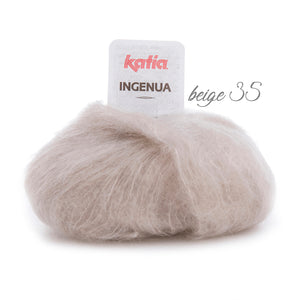 Knitting Kit: Cosy knit pullover made of mohair ingenua from Katia pale brown beige