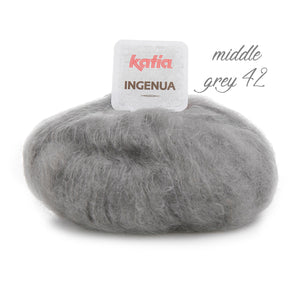 Knitting Kit: Cosy knit pullover made of mohair ingenua from Katia grey brown