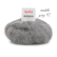 Load image into Gallery viewer, DIY: Stole knitted with mohair ingenua from katia pale blue grey brown