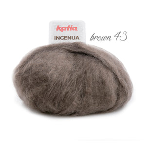Mohair wool INGENUA from Katia for knitting jackets and pullover brown