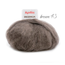 Load image into Gallery viewer, DIY: Stole knitted with mohair ingenua from katia pale blue brown