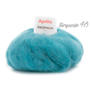 Knitting Kit: Cosy knit pullover made of mohair ingenua from Katia green blue