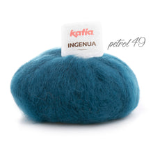 Load image into Gallery viewer, DIY: Stole knitted with mohair ingenua from katia pale blue petrol