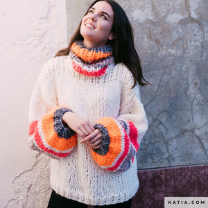 Ingenious big wool from katia for a colourfull sweater DIY