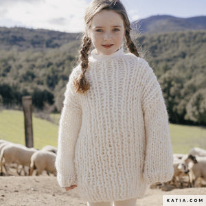 Ingenious big wool from katia cream for kids pullover