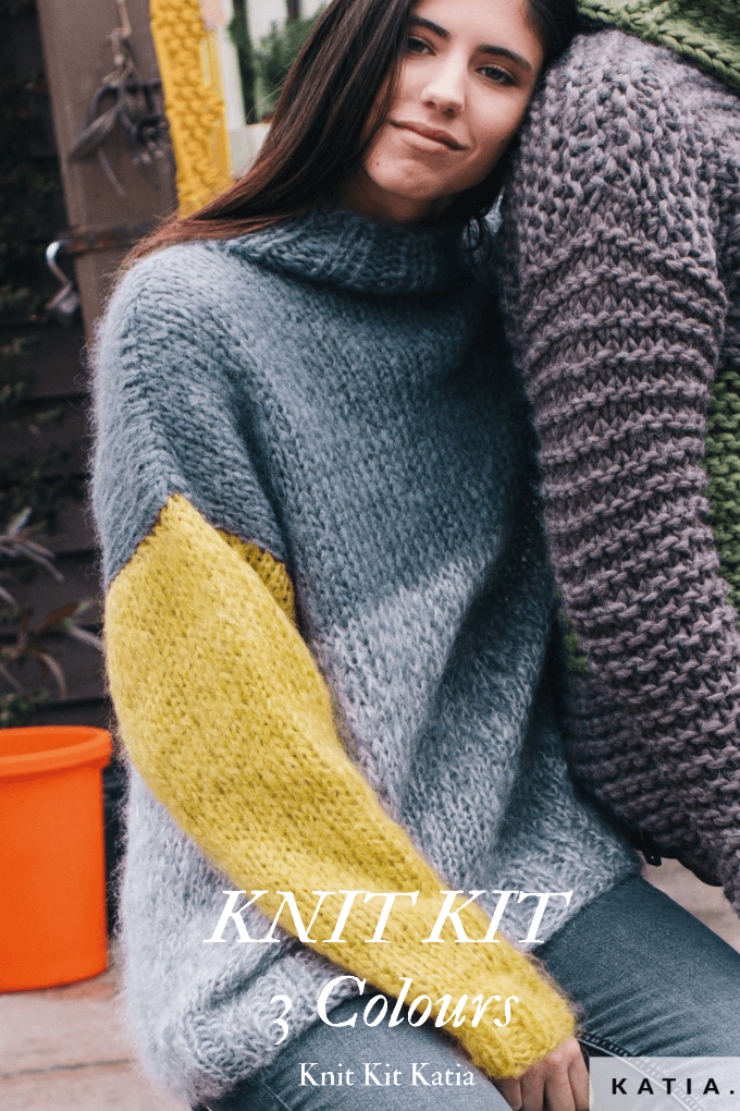 Chunky knit sweater made of soft mohair knitting at corona times
