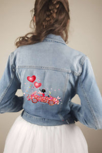 Heat transfer sticker women and ballons on blue jeans jacket