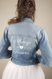 bridal jeans jacket with print