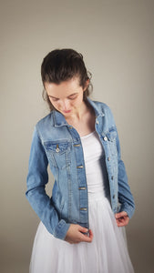 bridal blue denim jacket with motive