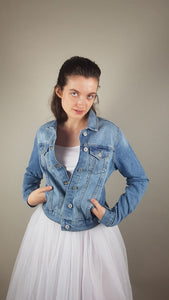 bridal blue jeans jacket with motive
