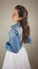 Load image into Gallery viewer, bridal blue denim jacket for skirts