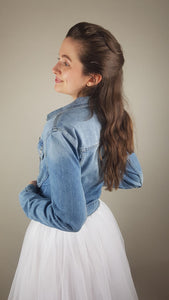 bridal blue denim jacket for skirts