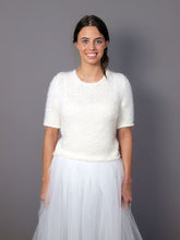 Load image into Gallery viewer, Knit bridal sweater white and ivory for your bridal gown