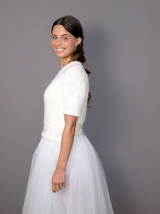 Knit bridal pullover white and ivory for your bridal gown