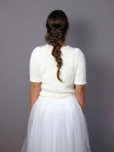 Load image into Gallery viewer, Knit wedding sweater white and ivory for your bridal gown