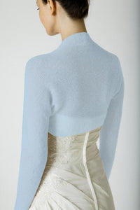 Cashmere knit bolero pale blue for wedding dresses
