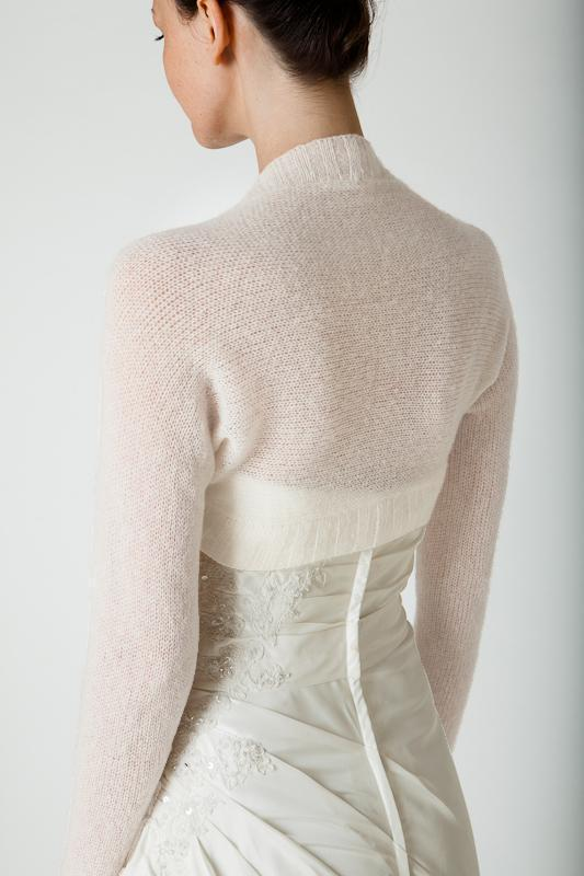Knit bolero cashmere ivory and white for Brides and weddings