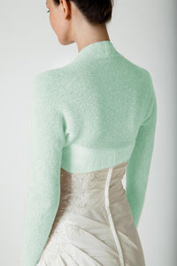 Cashmere knit bolero mint light green for wedding dresses