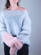 Load image into Gallery viewer, grey rose mohair pullover for christmas