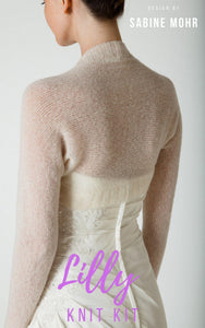 Bridal Bolero LILLY in the practical knit box with cashmere wool and knit instruction