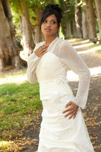 wedding jacket knitted for bridal gowns ivory, blush and white