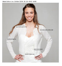 Load image into Gallery viewer, Wedding bolero cardigan for brides knitted in white and ivory rose