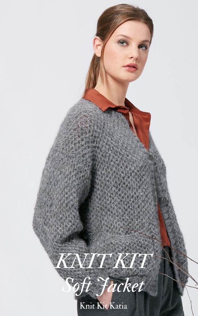 knit jacket in grey for knitting yourself with yarn and instruction