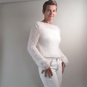 cozy Knit pullover white mohair from beemohr