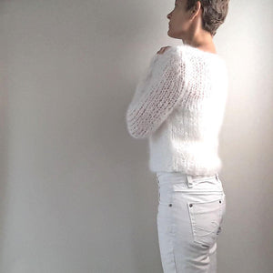 Knit sweater white mohair from beemohr