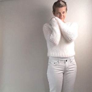 Wedding Knit pullover white mohair from beemohr