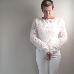 Knit pullover white in mohair from beemohr