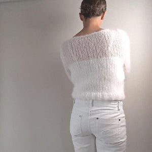 Knit fashion pullover white mohair from beemohr