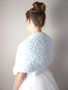 Bridal shoulder warmer for autumnn and winter brides in USA pale blue