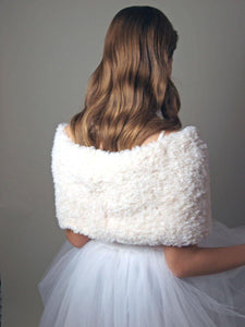 Fur coverup cream, rose and pale blue for your bridal skirt or gown