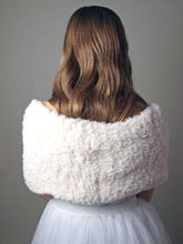Load image into Gallery viewer, Fur stole cream, rose and pale blue for your bridal skirt or gown