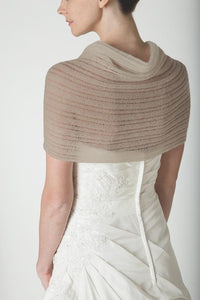 Knit pashmina for your birdal gown in ivory and blush lace