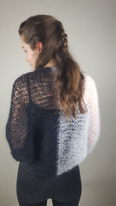 Knit bolero in two colours black grey