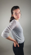 Load image into Gallery viewer, Cashmere knit sweater light cream with silk