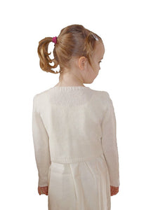 Flower girl jacket in ivory with knots