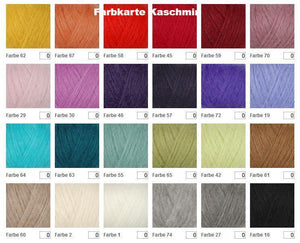 Cashmere Colour Chart for jackets