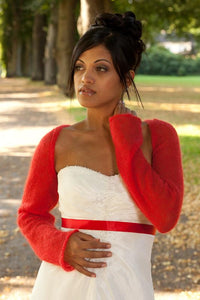 Bolero jacket knitted in red cashmere