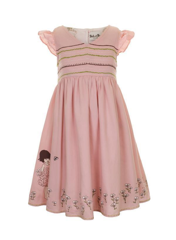 Rose summer dress for girls aged from 1 to 5 years old