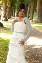 Load image into Gallery viewer, Wedding Knit jacket for brides in mint and light green