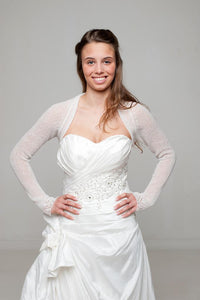 Wedding knit bolero for birdes in ivory and white with hearts