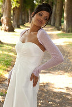 Load image into Gallery viewer, Cashmere bolero for brides with 3/4 sleeve white and ivory