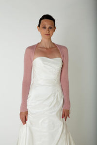Cashmere bolero for brides with 3/4 sleeve dusty pink and ivory