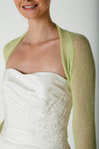 Bridal jacket knitted with lace made of cashmere green