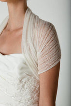 Load image into Gallery viewer, Bridal stole knitted for your wedding dress or skirt ivory