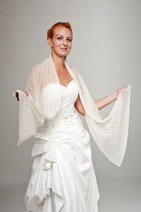 Bridal stole knitted for your wedding dress or skirt ivory and white lace