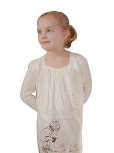 Knit bolero jacket for flower girls in ivory with knots